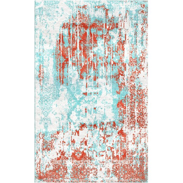 Aliza Handloom Red/Blue Area Rug by Bungalow Rose