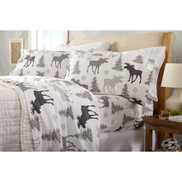 Clymer Moose Super Soft Printed Flannel Cotton Sheet Set by Loon Peak