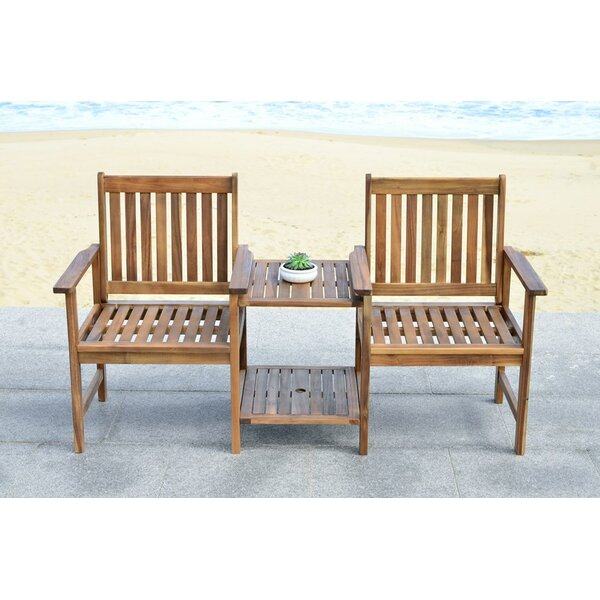 Brea Solid Wood Tete-a-Tete Bench By Loon Peak