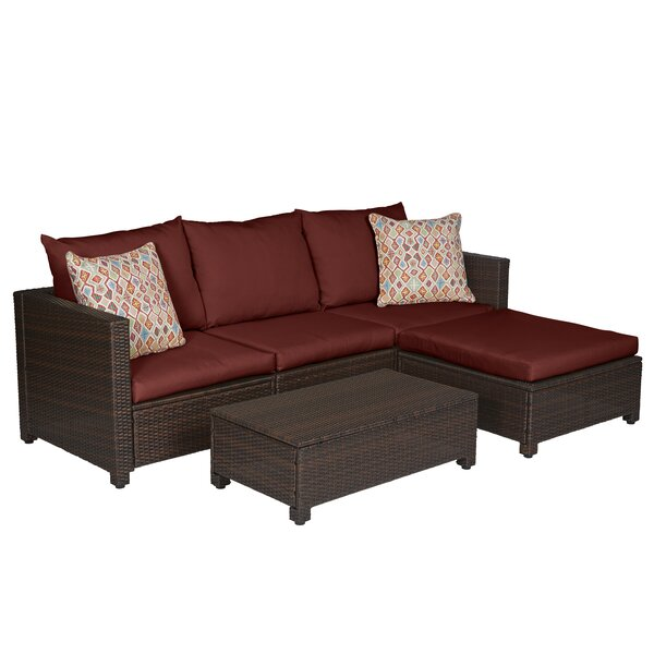 Larsen 5 Piece Rattan Sectional Seating Group with Cushions by Mercury Row