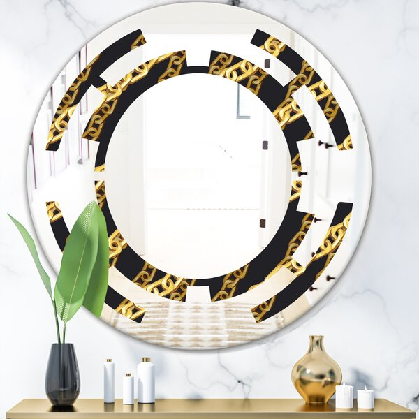 Space Zigzag Chain Glam Frameless Wall Mirror