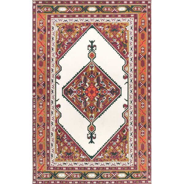 Charlebois Hand-Woven Cotton Ivory Area Rug by Bungalow Rose