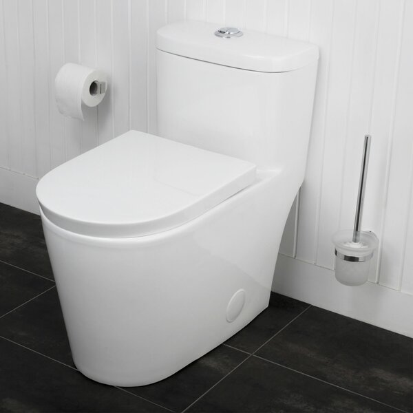 Menteith Siphonic Jets Dual Flush Elongated One-Piece Toilet by Maykke