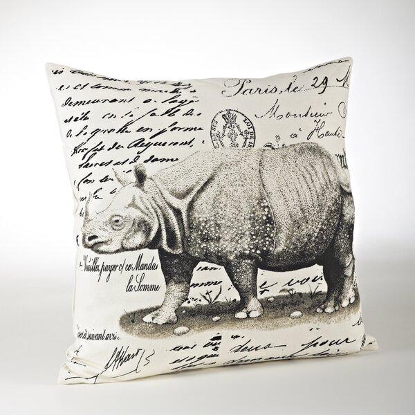 Whimsey Rhinoceros Cotton Throw Pillow by Saro