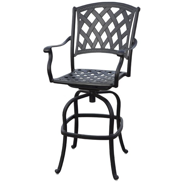 Campton Contemporary Patio Bar Stool with Cushion (Set of 2) by Fleur De Lis Living