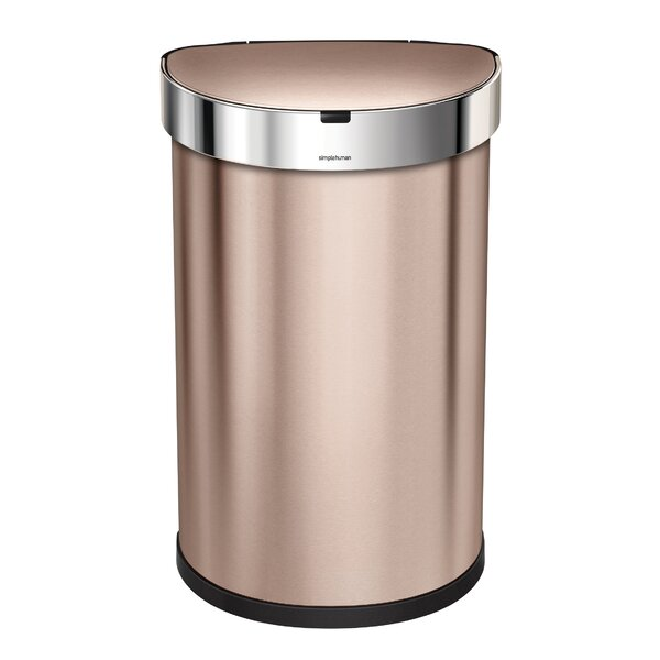 12 Gallon Semi-Round Sensor Trash Can with Liner Pocket by simplehuman