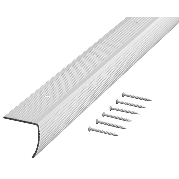 1.13 H x 1.13 W x 36 D Fluted Edging Stair Nose in Silver by M-d Products