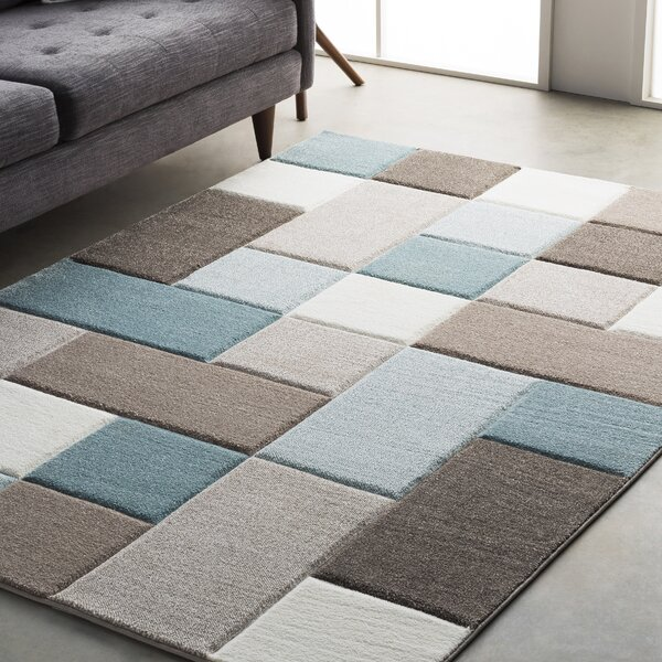 Mott Street Modern Geometric Carved Teal/Brown Area Rug by Wrought Studio