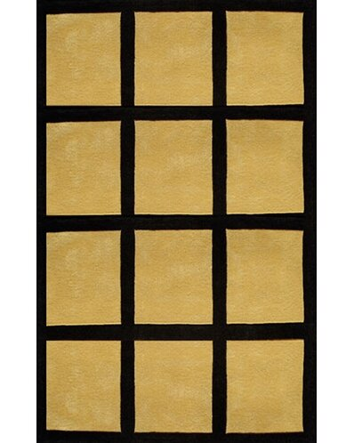 Bright Yellow/Black Window Blocks Area Rug by American Home Rug Co.