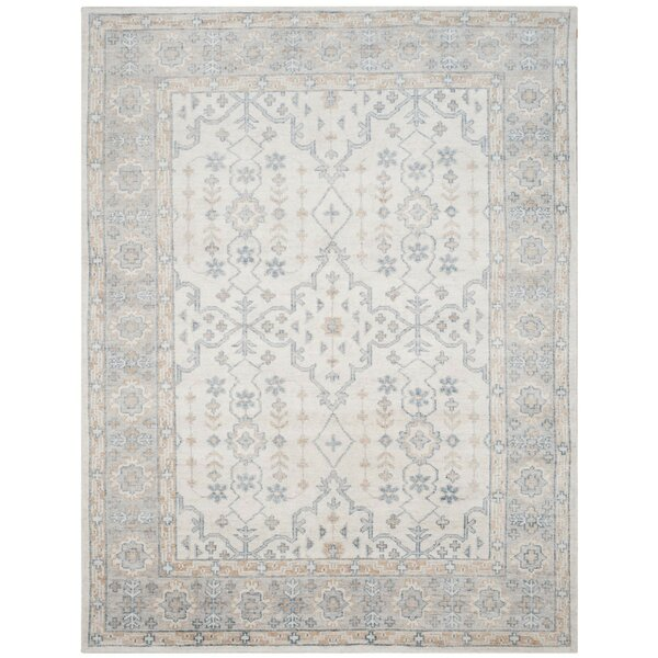 Yassine Hand-Knotted Silk Ivory/Blue Area Rug by One Allium Way