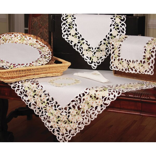Spring Garden Embroidered Cutwork Table Runner by Xia Home Fashions