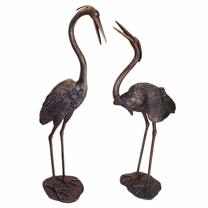 2 Piece Grande Heron Garden Statue Set