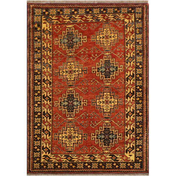 One-of-a-Kind Elaine Super Kazak Hand-Knotted Wool Rust/Light Blue Area Rug by Astoria Grand