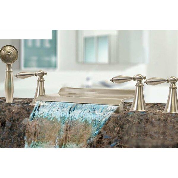 Triple Handle Deck Mount Waterfall Tub Filler with Handshower by Kokols