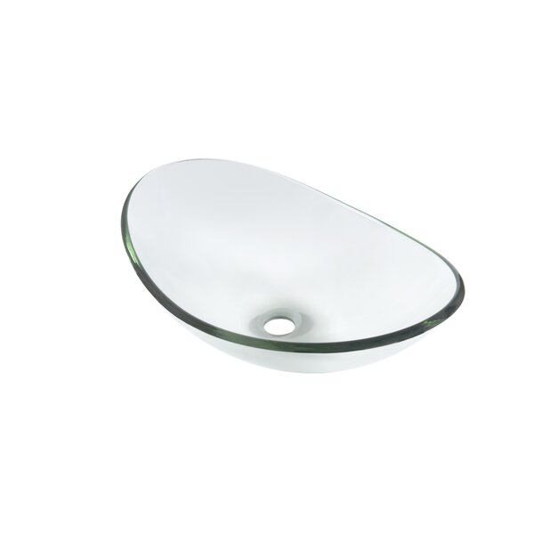 Chiaro Glass Oval Vessel Bathroom Sink by Novatto