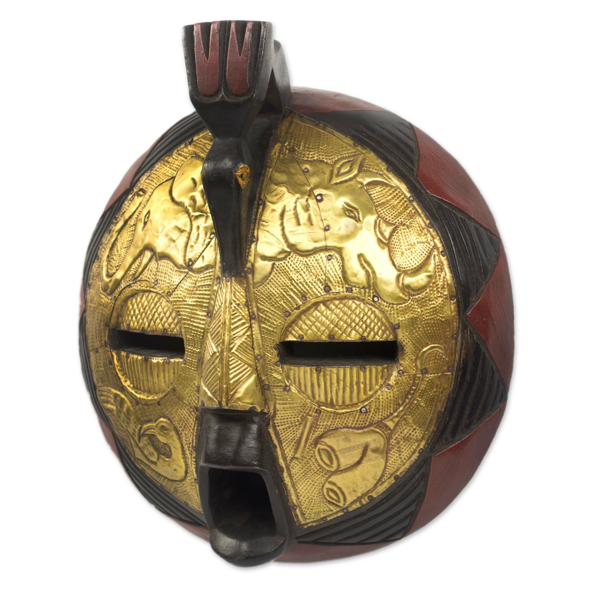 Novica Circular African Mask Covered In Brass With Animal Motifs ...