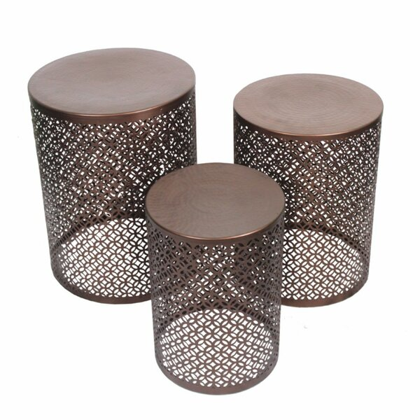 Crabill Stylish Round 3 Piece Accent Stool Set by World Menagerie