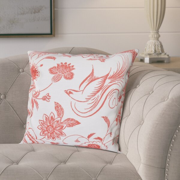 Cecilia Traditional Bird Floral Outdoor Throw Pillow by Lark Manor