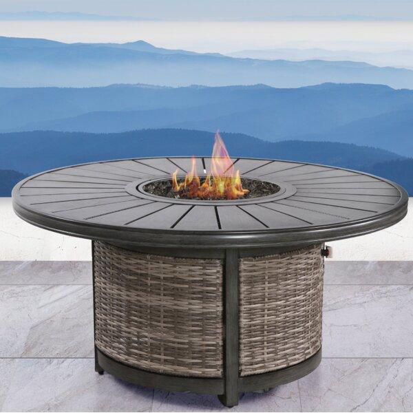 Vardin Resort Wicker Propane Fire Pit Table by Living Source International