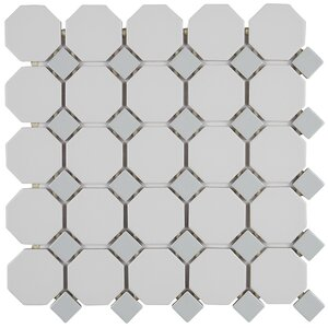 Octagon and Dot 2″ x 2″ Ceramic Mosaic Tile in Glazed Matte White with Gray Gloss Dot