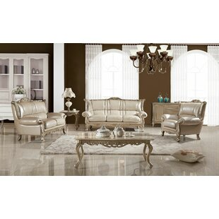 Hargett 3 Piece Leather Standard Living Room Set by Astoria Grand