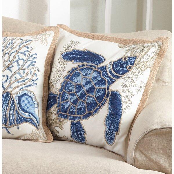 Aloisia Sea Turtle Down Filled Cotton Throw Pillow by Highland Dunes