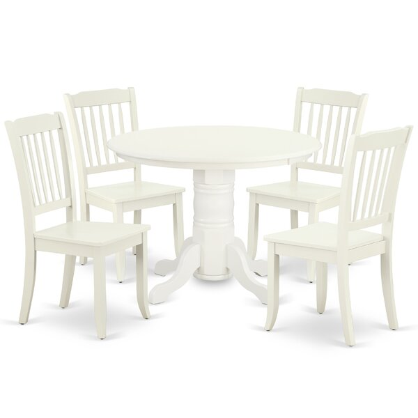 Kutz 5 Piece Solid Wood Dining Set by August Grove