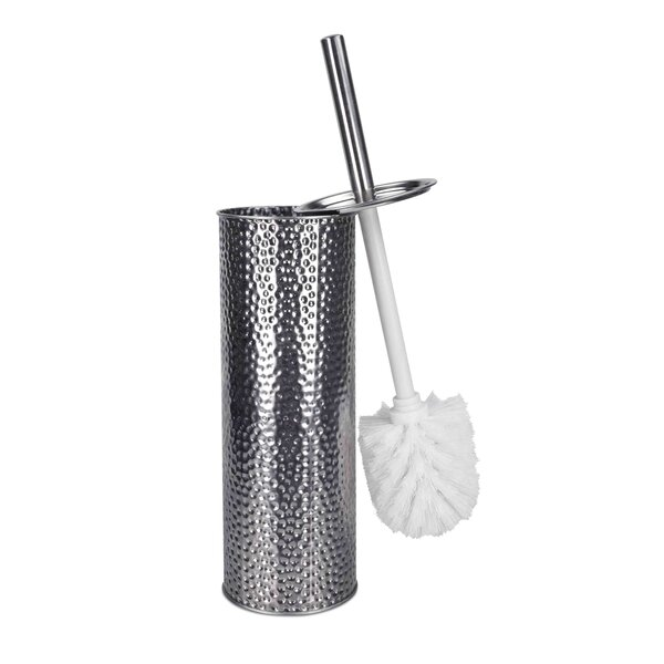 Stainless Steel Hammered Free Standing Toilet Brush and Holder by Home BasicsStainless Steel Hammered Free Standing Toilet Brush and Holder by Home Basics