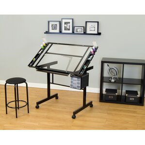 vision 2 piece craft station and glass drafting table with stool