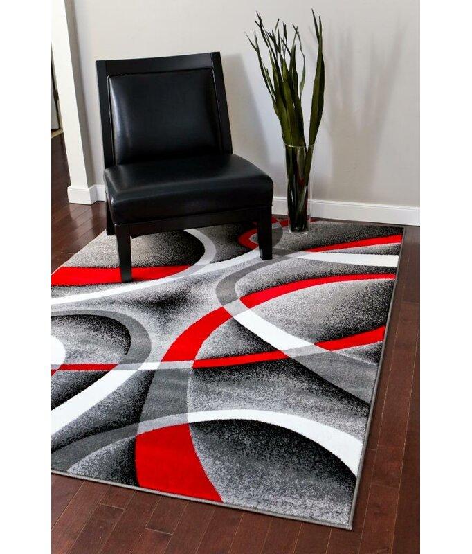 Cherine Modern Gray Red White Area Rug