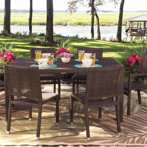 All-Weather Miami Rectangular Wicker Rattan Dining Table by Woodard