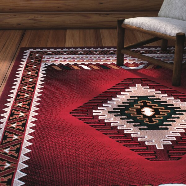 Iberide High-Quality Woven Red Area Rug by Loon Peak