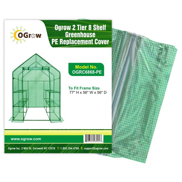 2 Tier 8 Shelf Greenhouse PE Replacement Panel Cover by OGrow