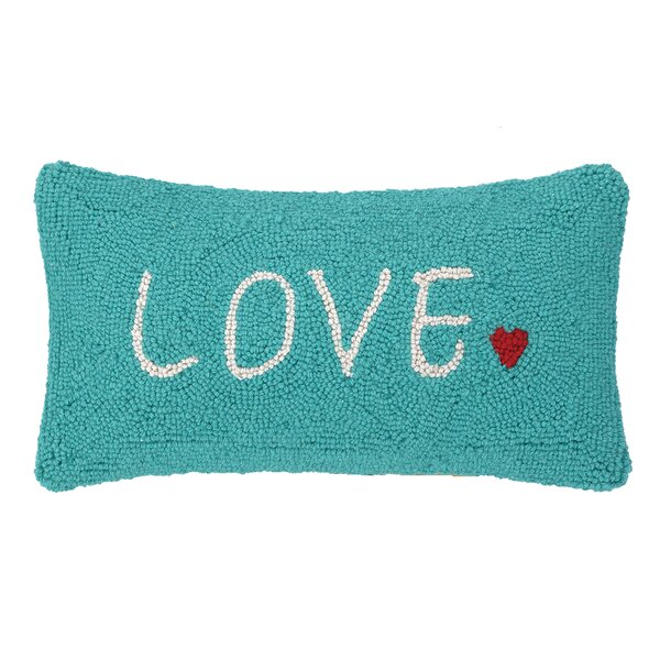Love Heart Hook Wool Lumbar Pillow by Peking Handicraft