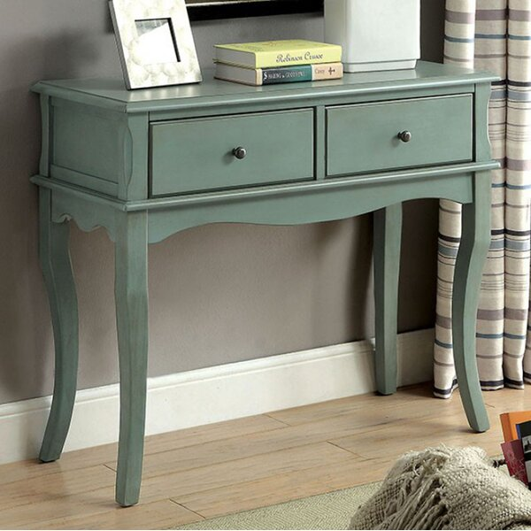 Aranda Rustic Teal Hallway 2 Drawers Console Table by One Allium Way