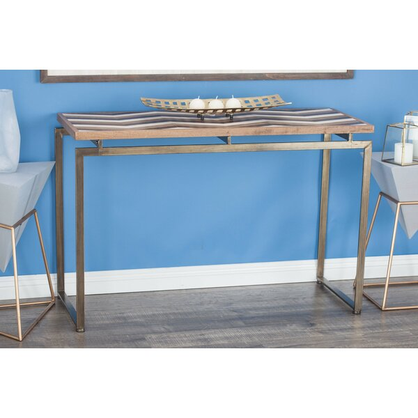 Orona Contemporary Metal Chevron Console Table by Union Rustic