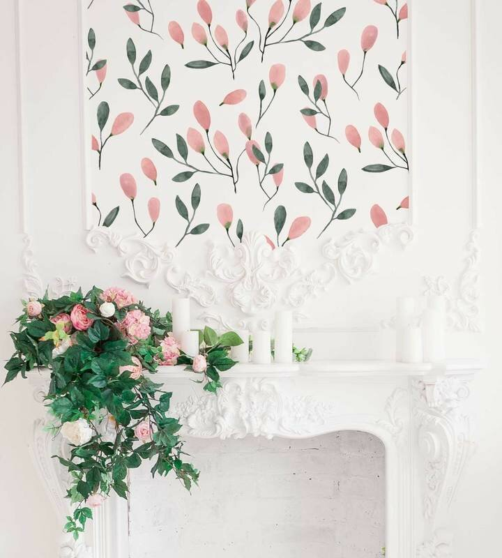 Soft Blush Florals Wall Decal
