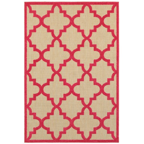 Winchcombe Sand/Pink Outdoor Area Rug by Charlton Home