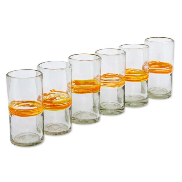 Ribbon of Sunshine 13 oz. Highball Glass (Set of 6) by Novica