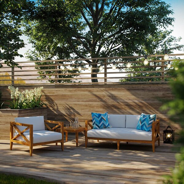 Dowell Outdoor 3 Piece Teak Sofa Seating Group with Cushions by Breakwater Bay