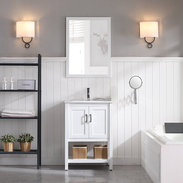 Mattis 24 Wall-Mounted Single Bathroom Vanity Set with Mirror by Gracie Oaks
