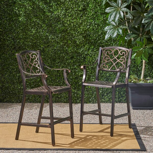Poarch 28-inch Patio Bar Stool (Set of 2) by Canora Grey Canora Grey