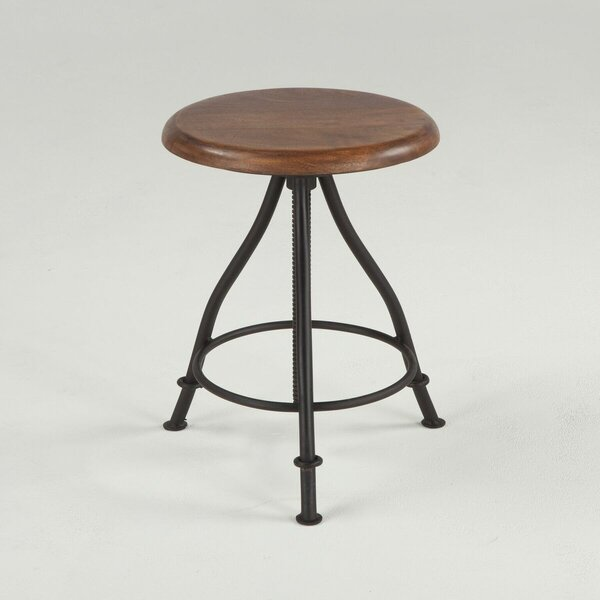 Artesia Acacia Wood and Iron Adjustable Backless Stool by World Interiors