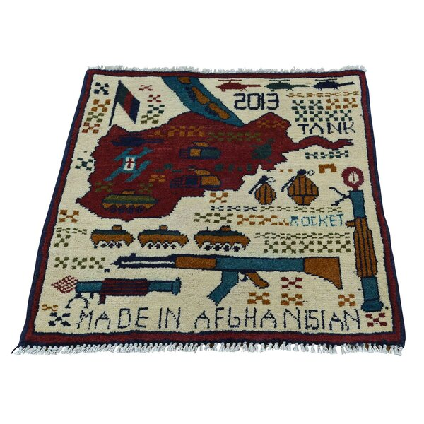 One-of-a-Kind Afghan Baluch War Tanks Guns and Grenades Hand-Knotted Ivory Area Rug by 1800GETARUG
