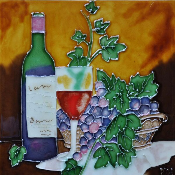 Wine with Table Cloth/Leaf Tile Wall Decor by Continental Art Center