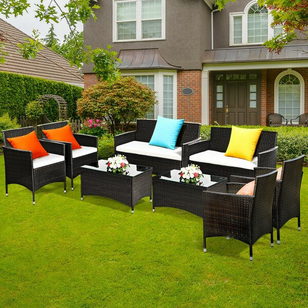 Mroz 8 Piece Rattan Sofa Seating Group with Cushions by Wrought Studio