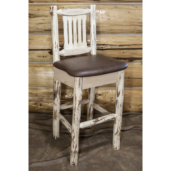 Abordale 30 Faux Leather Upholstery Bar Stool by Loon Peak