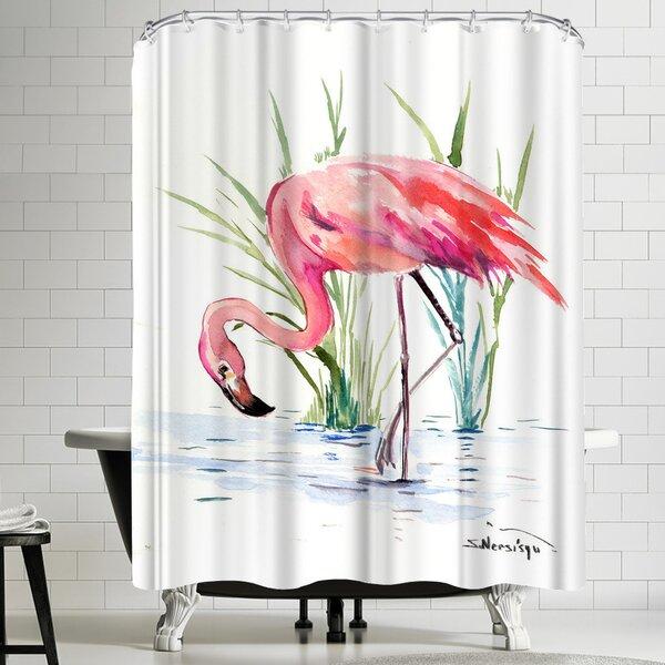 Suren Nersisyan Flamingo 4 Shower Curtain by East Urban Home