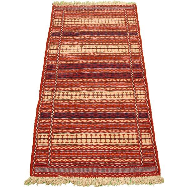 Woodmansee Handmade Kilim Wool Red/Beige Rug
