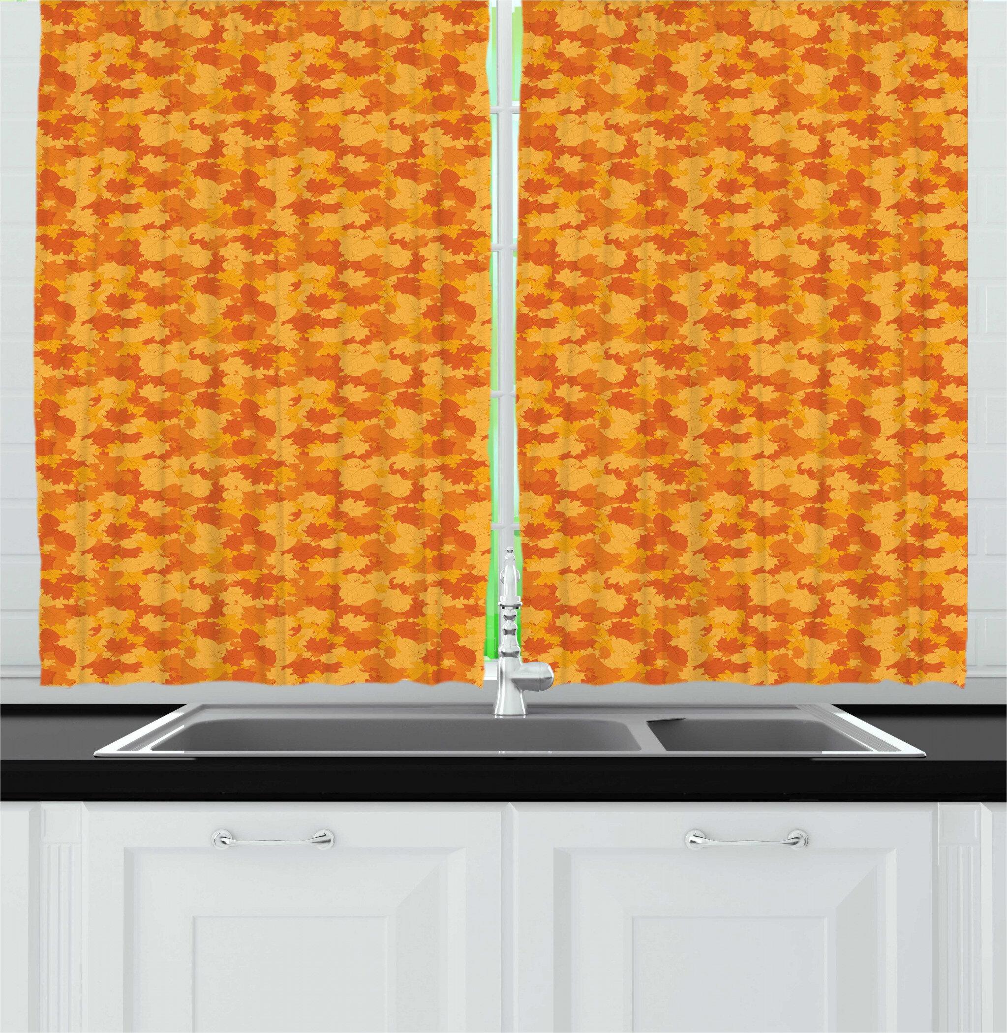 East Urban Home Burnt Orange Autumn Pattern With Cartoonish Fallen